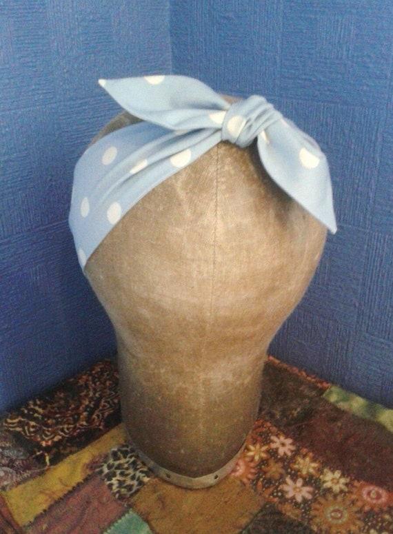 Headband Head Scarf Hair Wrap Bow Rockabilly Vintage Retro Boho Floral Flower