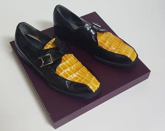 1990s Gold Yellow Snakeskin Black Leather Stacy Adams Monkstrap Buckle Loafers  - Mens Size 8.5 / Womens 10.5