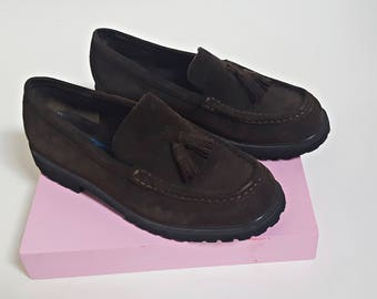 1980s Leather Suede LL Bean Tassel Loafers - Womens Size 6.5