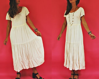 1980s/90s Bohemian Summer White Tiered Prairie Dress with Embroidered Bodice