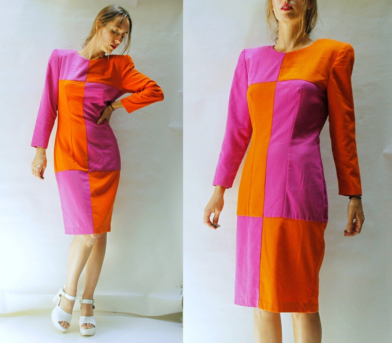 80s Dresses | Casual to Party Dresses Vintage 1980S Color Block Puff Shoulder Wiggle Dress $25.00 AT vintagedancer.com