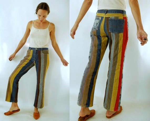 vintage 1990s Denim & Corduroy Patchwork Pants