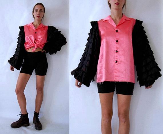 vintage 1960s Pink & Black Mens Flamenco Shirt wit