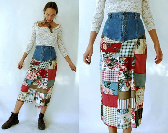 vintage 1980s Denim High Waist Floral Patchwork Sk
