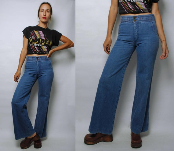 vintage 1970s High Waist Wide Leg Jeans