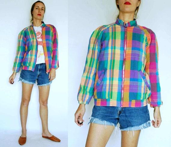 vintage 1980s Rainbow Plaid Bomber Jacket