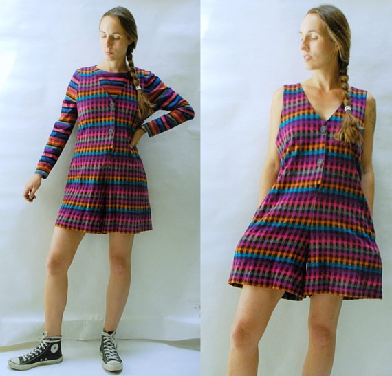 vintage 1980s Woven Gingham Romper and Striped Shi