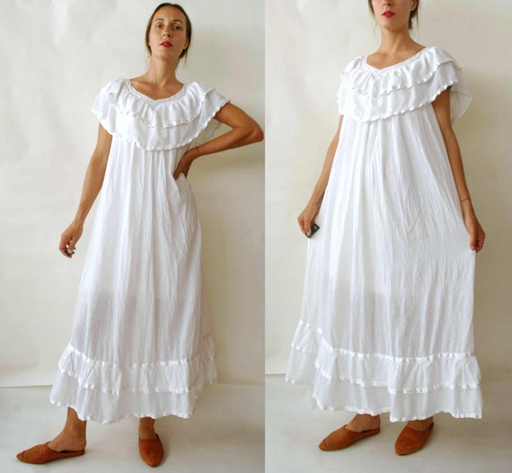 vintage Cotton Gauze White Tent Dress