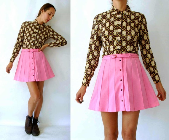 vintage 1960s Pink High Waist Mini Skirt