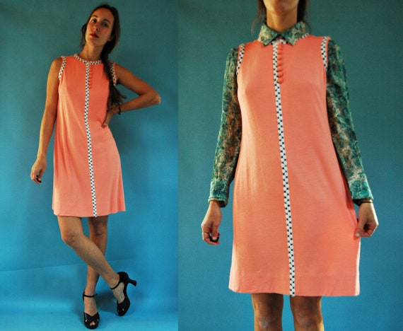 vintage 1960s Peach Pink Knit Lilly Pulitzer Dress