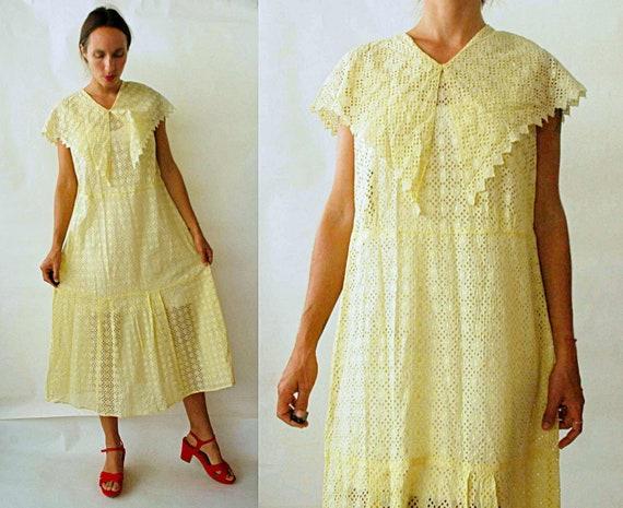 antique 1920s Yellow Cotton Eyelet Drop Waist Dres