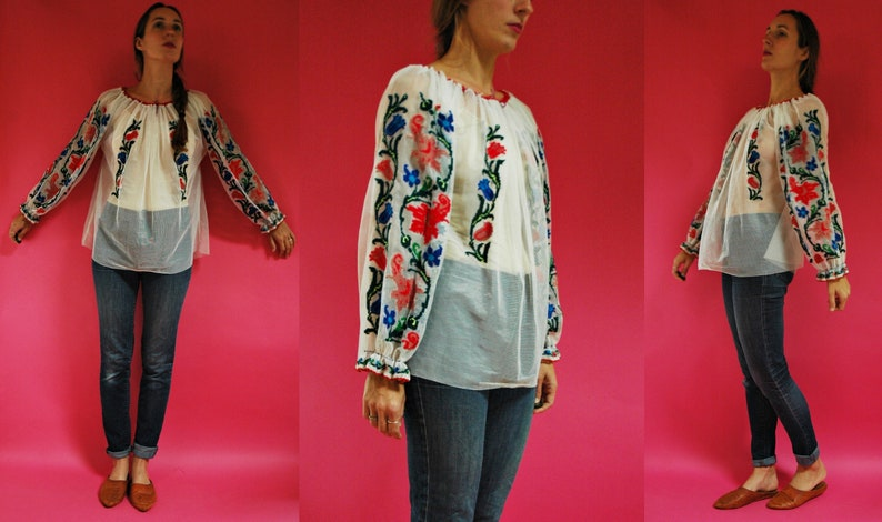 vintage 1970s Romanian Sheer Mesh Floral Embroidered Folk Blouse