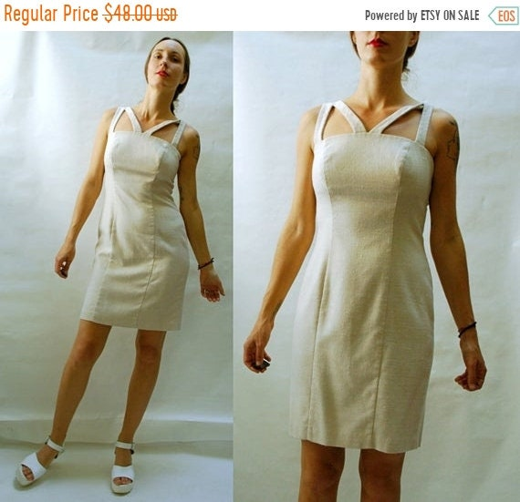 80s Dresses | Casual to Party Dresses Shop Is Away Vintage 1980S Cream Beige Cutout Neckline Fitted Summer Dress - Deadstock $25.00 AT vintagedancer.com