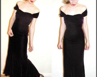 R E S E R V E D   vintage 30s style VIOLET Purple PLUM VELVET Hollywood Starlet Evening Gown