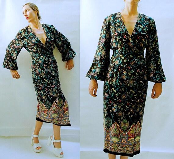 vintage 1980s Poet Sleeve Ornate Paisley Floral Pr