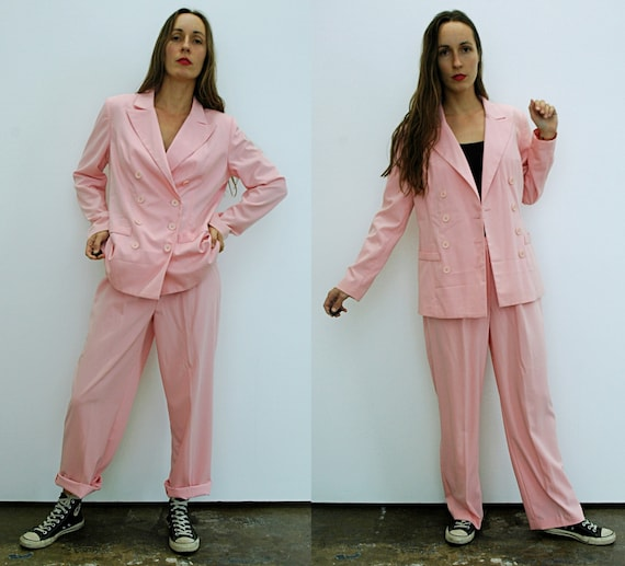 vintage 1990s Pastel Pink Double Breasted Pant Sui