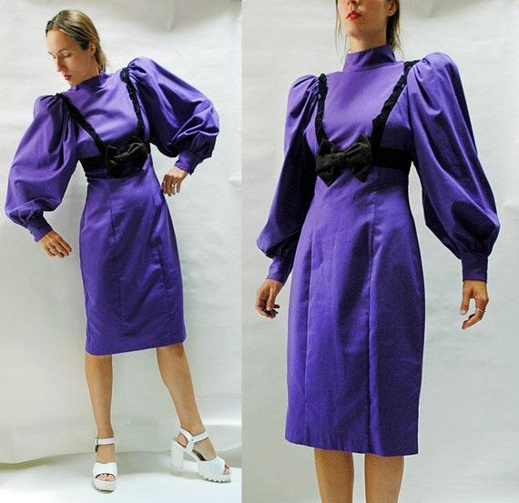 vintage 1980s Super Puff Sleeve Purple Wiggle Dres