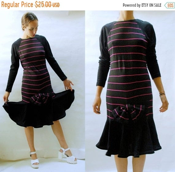 80s Dresses | Casual to Party Dresses Shop Is Away Sale Vintage 1980S Drop Waist Wiggle Knit Dress With Big Bow - Deadstock $28.00 AT vintagedancer.com