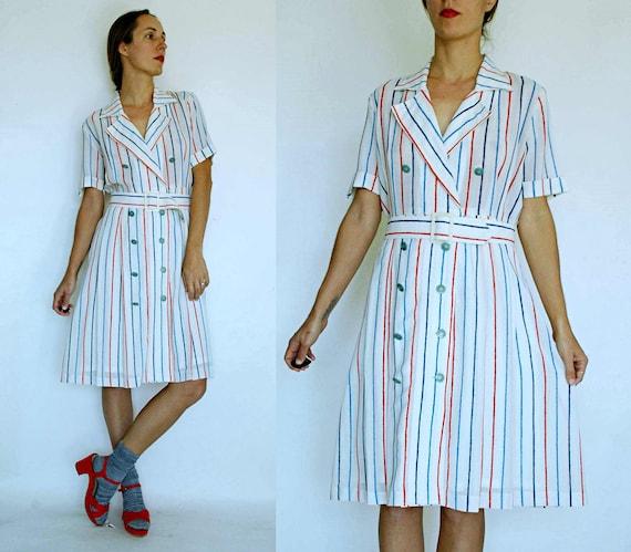 1960s Blue and White Geometric Print Culottes