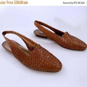 Shoes Size 6.5 Khaki Leather Woven Slip Ons Boho Hippie Made in Brazil Womens 6 12