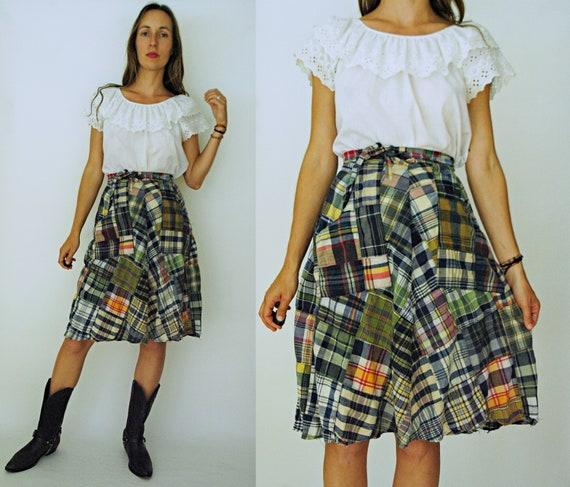 vintage 1970s Madras Plaid Patchwork Wrap Skirt