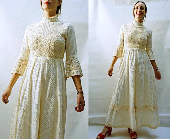 vintage 1960s Pleated Cotton & Crochet Gown / 1960