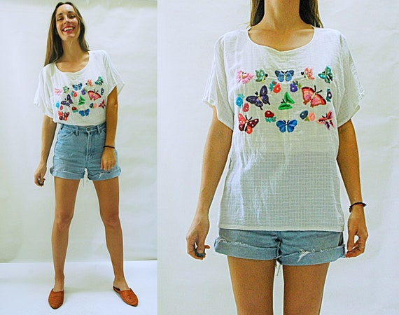 Lime and red Butterfly Blouse accented with hand embroidered accents size 10 to size 16usa