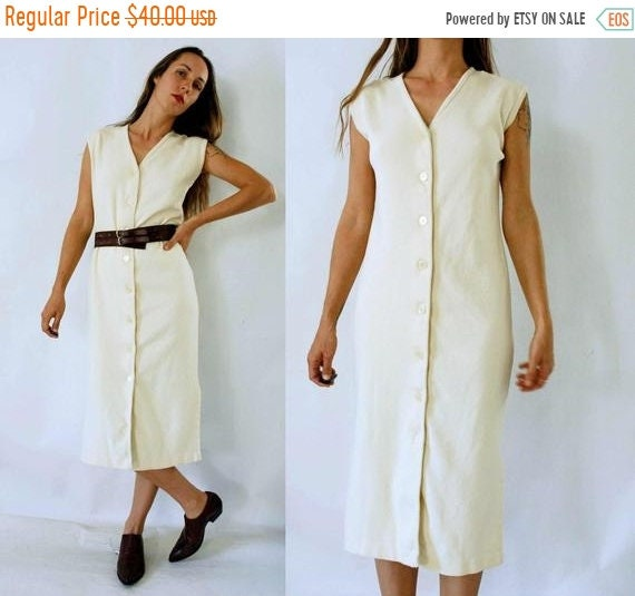 80s Dresses | Casual to Party Dresses Shop Is Away Vintage 1980S Minimalist Cream Button Front Sleeveless Cotton Dress $25.00 AT vintagedancer.com