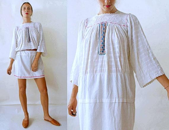 antique 1920s / 1930s Romanian Cotton Gauze Embroi