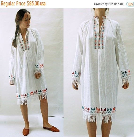 1940s Mens Ties | Wide Ties & Painted Ties Shop Is Away Vintage 1940S Handwoven Cotton Cross Stitch Embroidered Fringe Folk Dress From HungaryRomania $28.00 AT vintagedancer.com