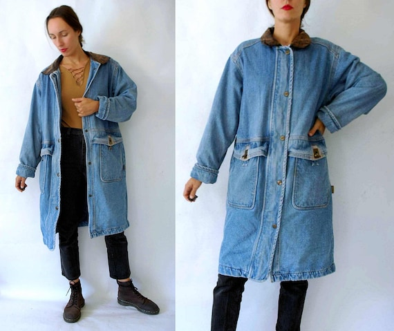 vintage 1980s Denim Lined Duster Jacket / Chore Co