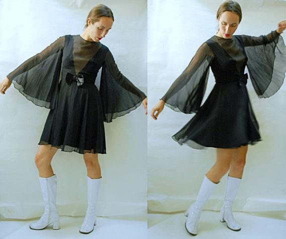 vintage 1960s Silk Chiffon Angel Sleeve Bell Sleev