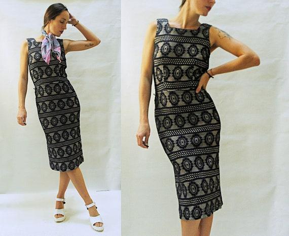 vintage 1950s Black Illusion Lace Print Wiggle Dre