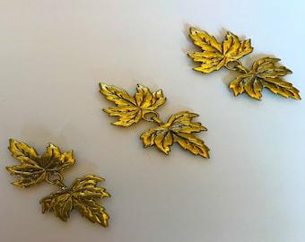 gold leaves collection of three fibula cape closure penannular Cloak Clasp set