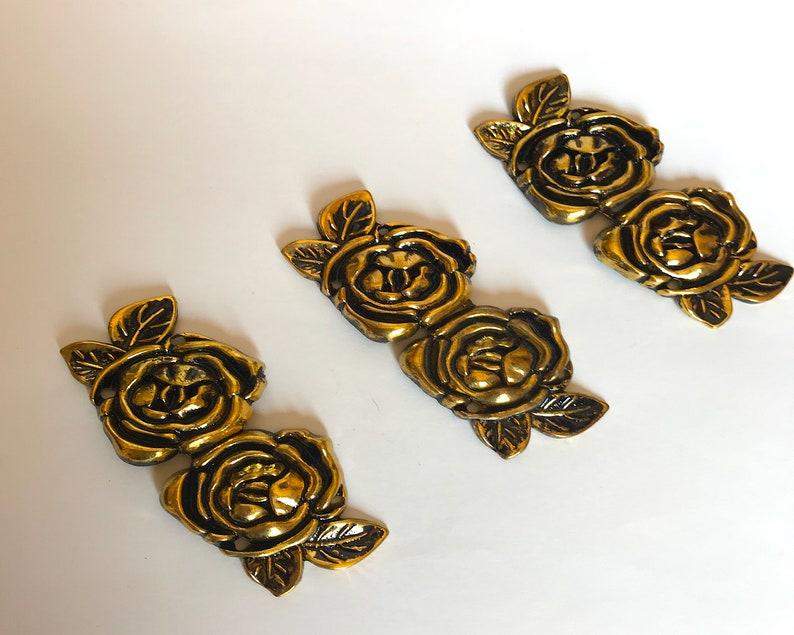 penannular fibula Cloak Clasp set Gold Rose  SET of three