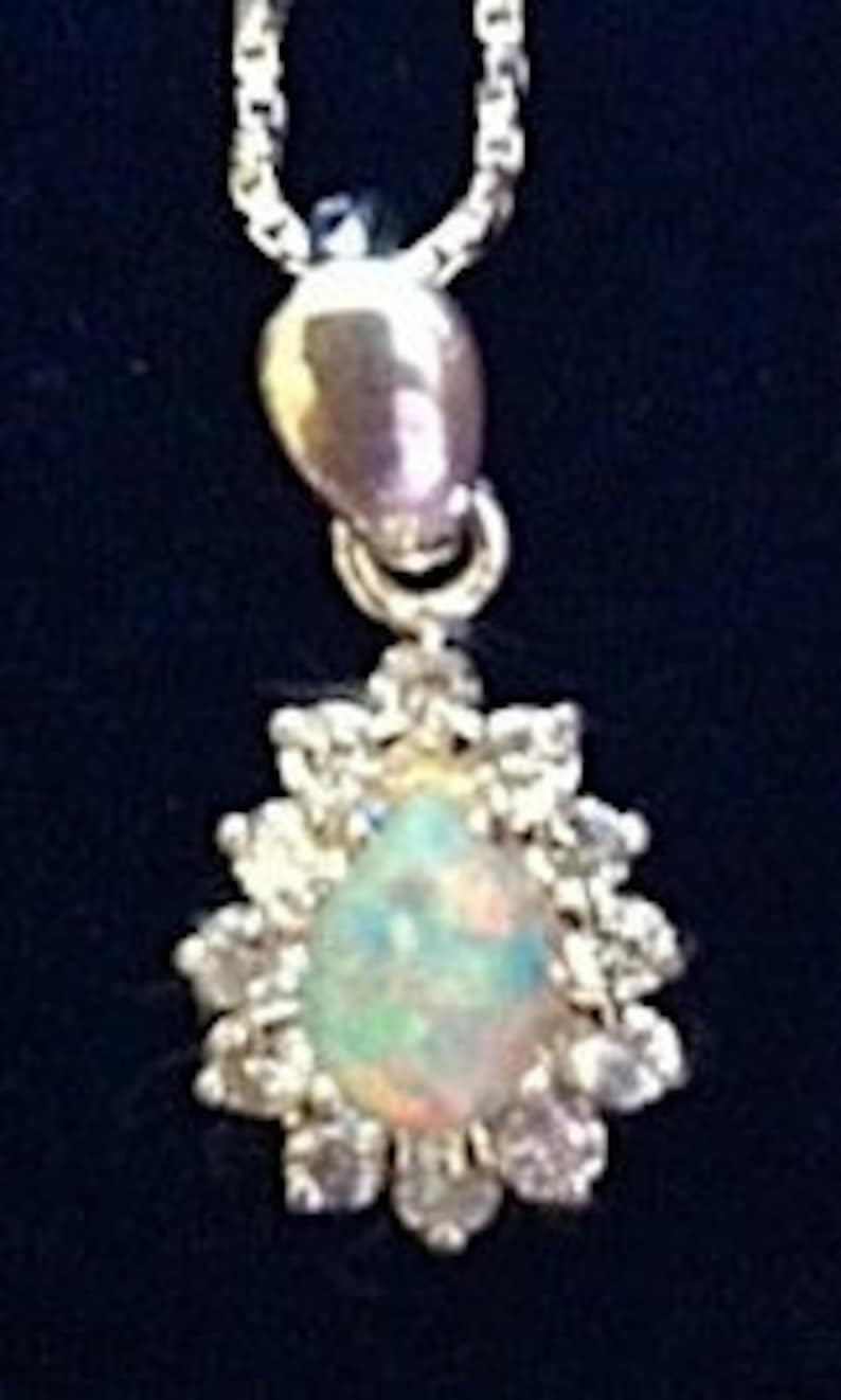 opal pendant with cz/'s and sterling silver