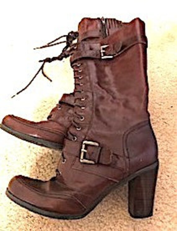 Nine West size 6.5  brown leather lace up boots