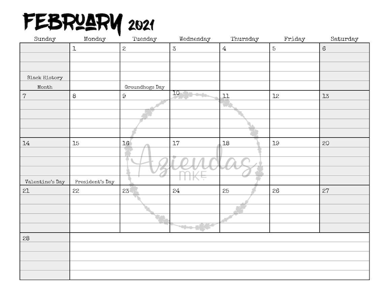 2021 Printable Monthly Calendar 12 months instant download ...