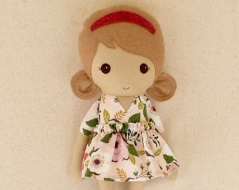 Fabric Doll Rag Doll 20 Inch Light Brown Haired Girl in Pink and Plum Floral Dress with Pink MaryJanes