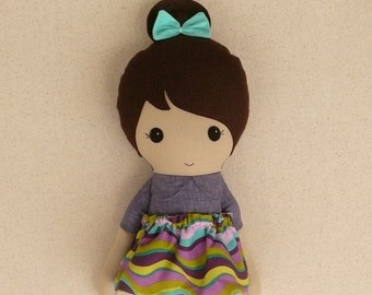 Fabric Doll Rag Doll 20 Inch Brown Haired Girl in Purple Dress with Purple, Green, and Aqua Wave Skirt