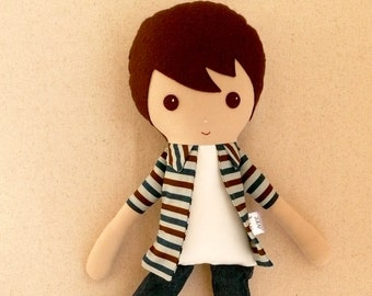 Fabric Doll Rag Doll Brown Haired Boy in Blue and Brown Striped Shirt and Jeans and Sneakers