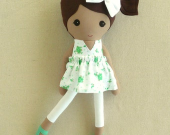 Fabric Doll Rag Doll Brown Haired Girl in Green Eyelet Floral Dress with Green Shoes