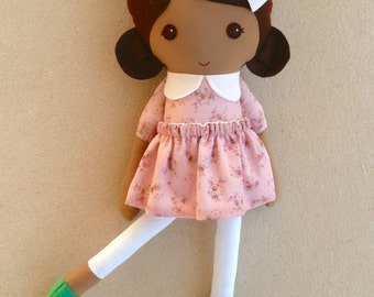 Fabric Doll Rag Doll Brown Haired Girl in Lilac Floral Dress