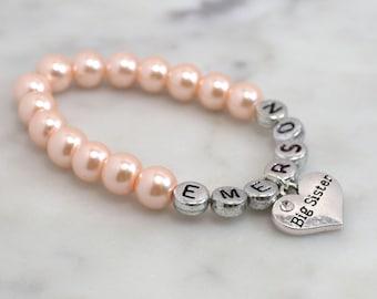 Blush Big Sister Bracelet Gift Jewelry Charm Pink Pearl