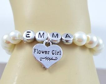Personalized Flower Girl Bracelet, Flower Girl Jewelry, Ivory Pearl Bracelet, Wedding Jewelry, Name Bracelet, Flower Girl Bracelet, Custom