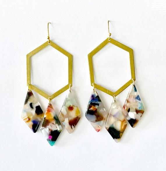 Triangle Shell Earrings dangle earring triangle earring Rectangle shell earring geometric earring drop earring gift for her