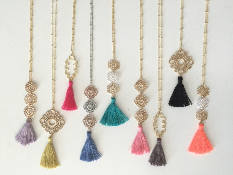 Fun Summer Tassel Necklace // Long Colorful Tassel Necklace // image 0