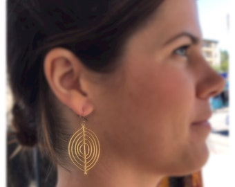 Gold Concentric Oval Earrings