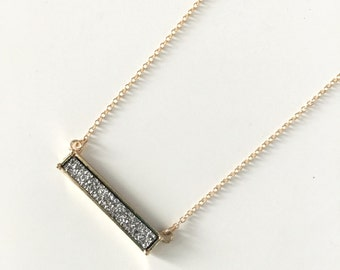 Druzy Bar Necklace // Druzy Layering Necklace