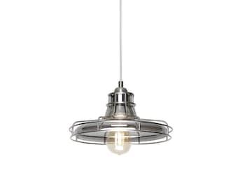 etsy lighting cabin bright satin nickel and smokey glass single light industrial pendant lighting etsy